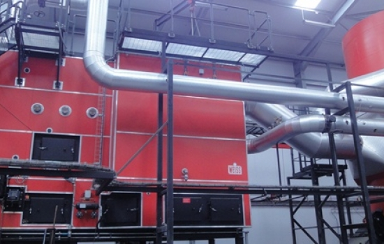 Large red biomass boiler