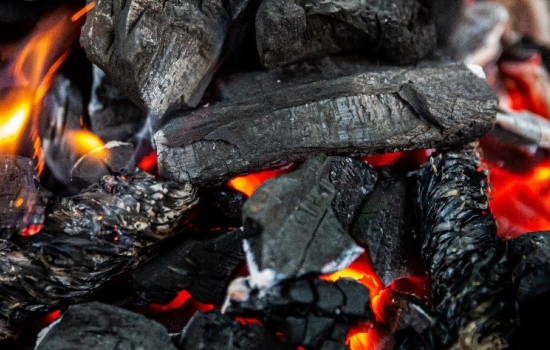 Close up of burning coals
