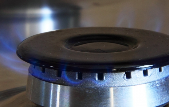 Gas flames on a gas hob ring