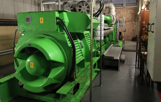 Green CHP engine in a shed