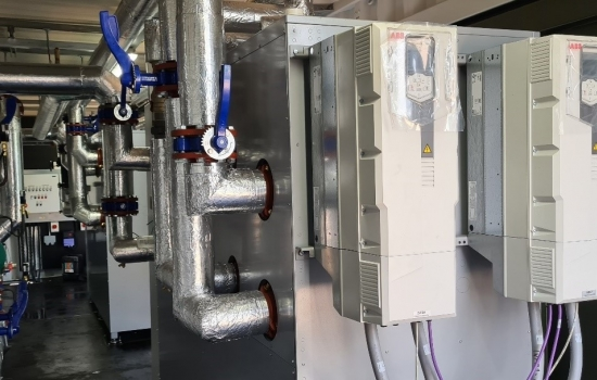 Large heat pump in a building
