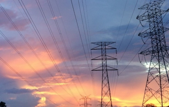 Pylons in a sunset