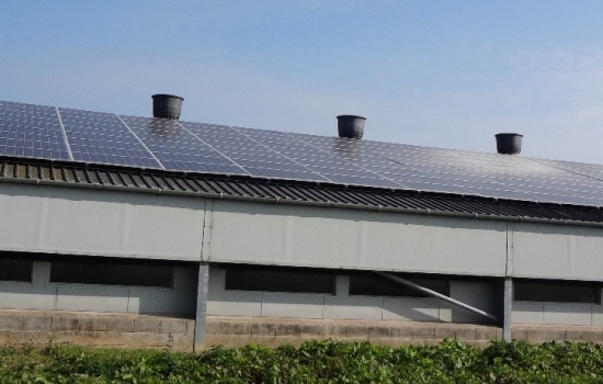 Roof with solar panels on