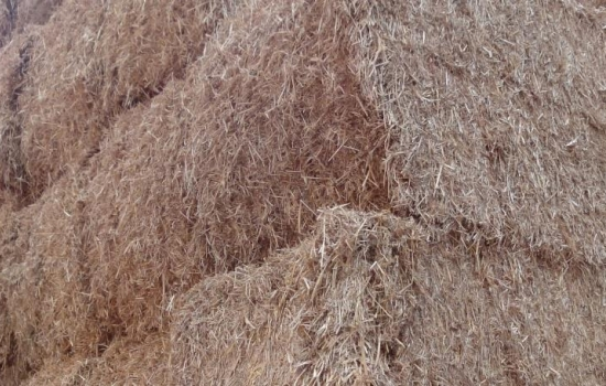 A close up of large straw bales stacked up