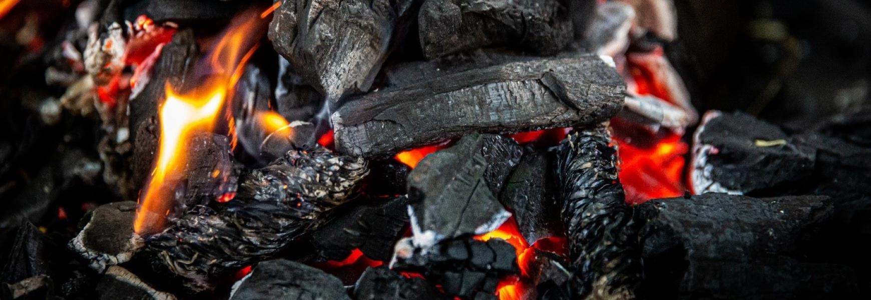 Close up of burning coals