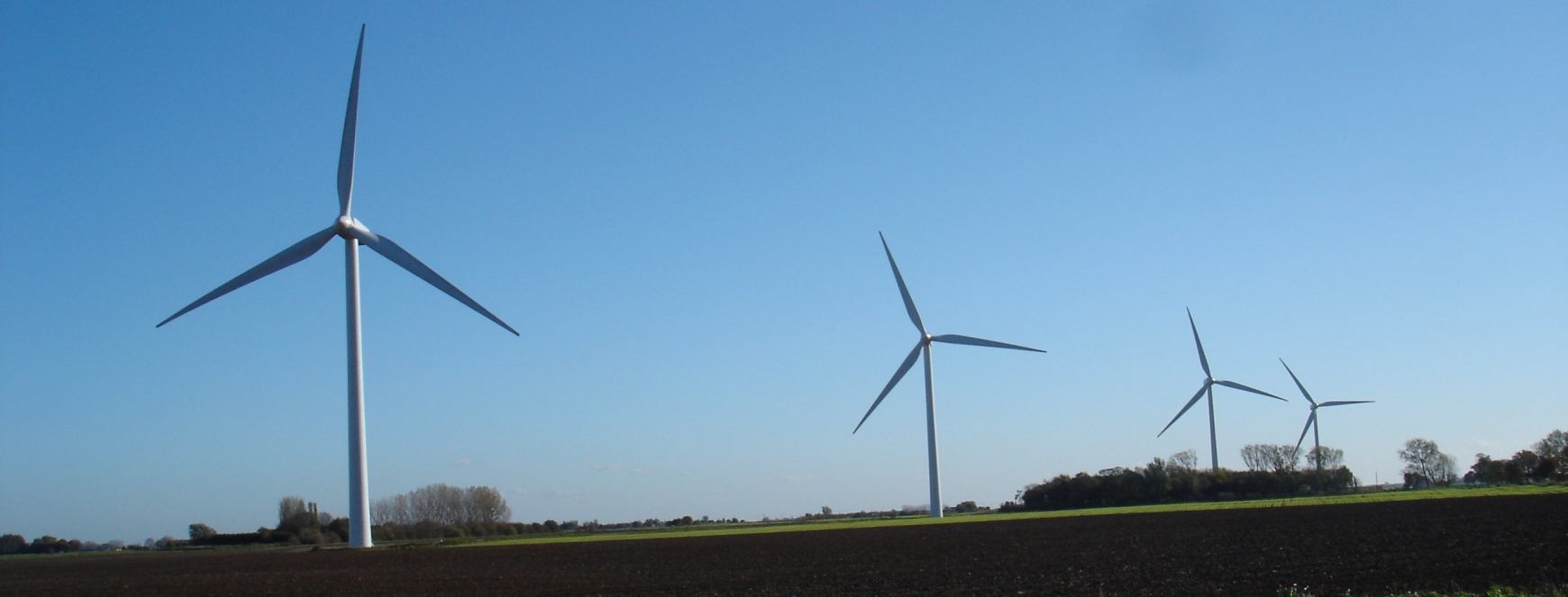 Four wind turbines in a field with blue sky