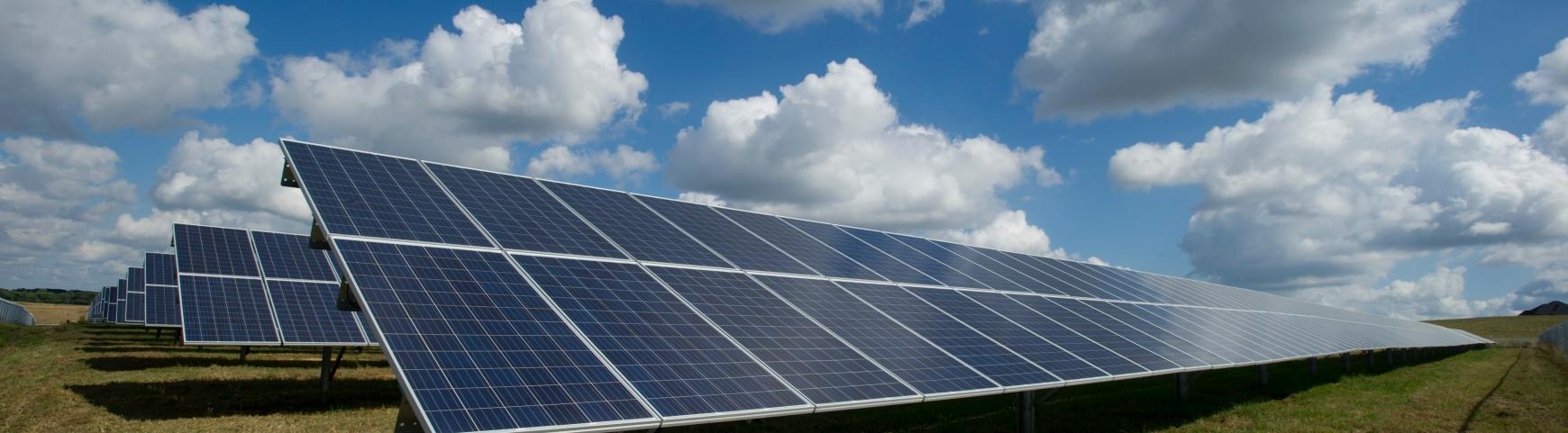 Solar panels in the sunshine