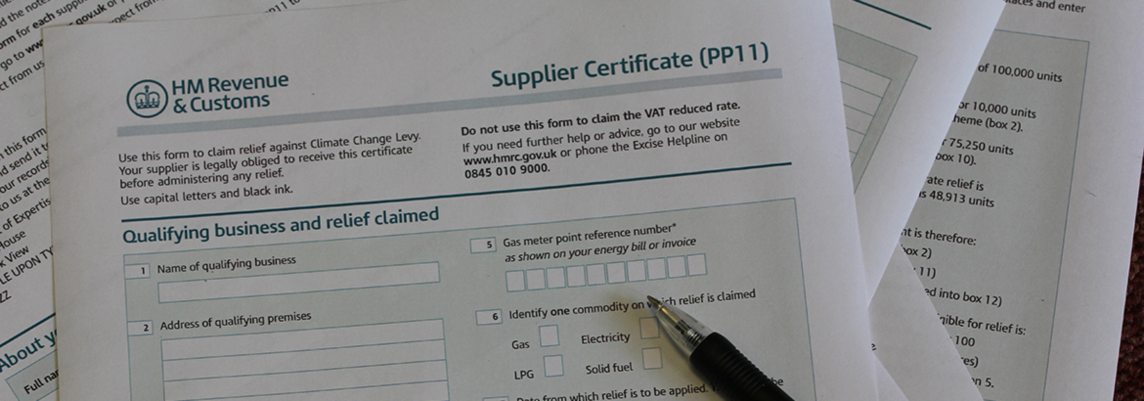 Climate Change Levy Supplier Certificate PP11 form used by NFU Energy team to help clients save up to 90% on their Climate Change Levy tax
